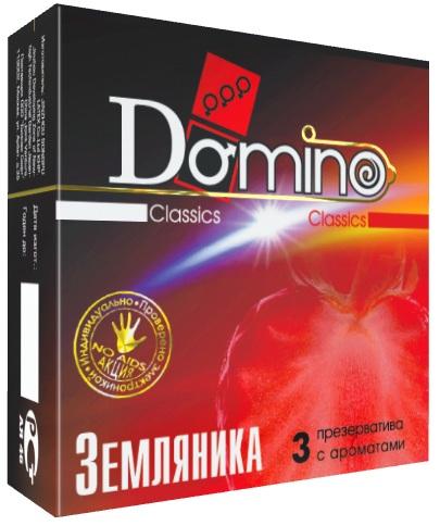 Ароматизированные презервативы Domino  Земляника  - 3 шт.