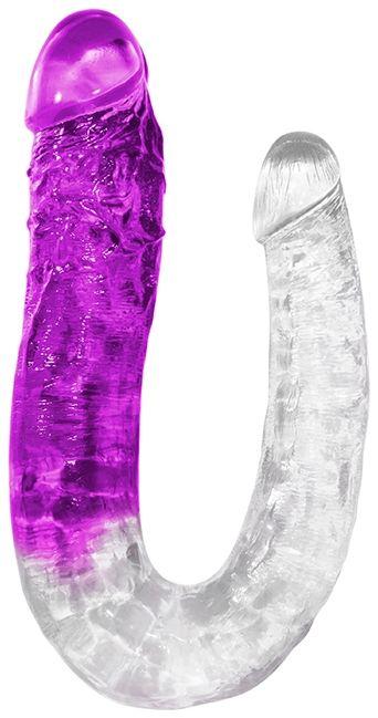 Прозрачно-фиолетовый изогнутый двусторонний фаллоимитатор - 39 см.