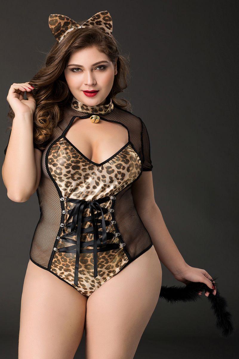 Черно-леопардовый костюм кошки Tawny