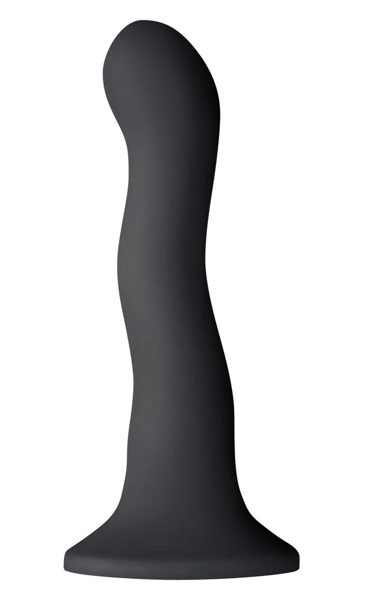 Чёрный волнистый фаллоимитатор Shi/Shi Ripple 6 Dildo - 19 см.