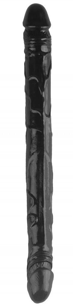 Черный двухсторонний спиралевидный фаллоимитатор - 37 см.